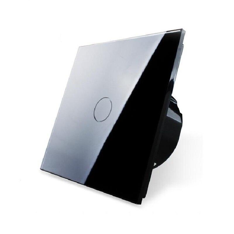 Commutateur tactile OS-01-2, panneau de commutation en verre cristal noir, interrupteur d'écran tactile pour interrupteur mural