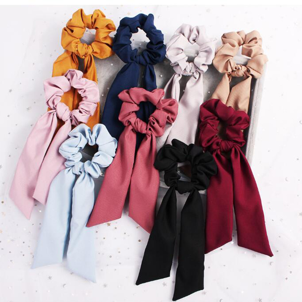Summer girls hair accessories   Headwear   Turban DIY Bow Streamers Hair Scrunchies Ribbon Hair Ties Horsetail Ties Solid Head Wrap