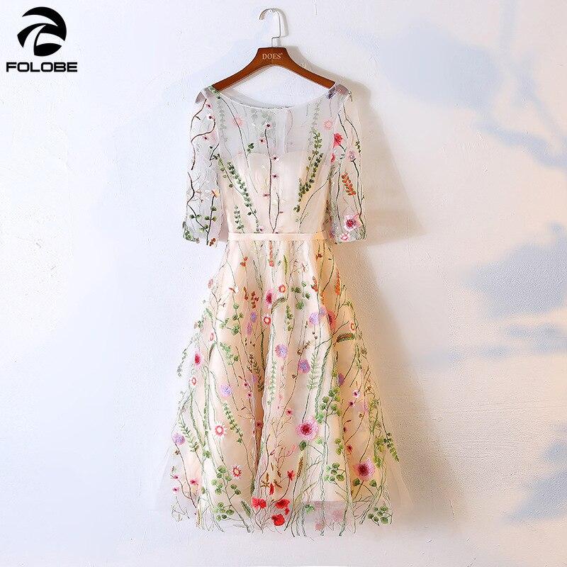 FOLOBE 2019 Sexy femmes Floral broderie robe pure maille été Boho a-ligne robe dame transparent robes de soirée robes