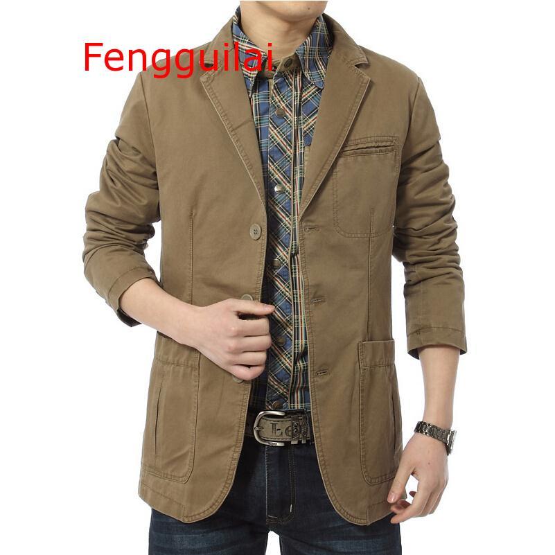 Blazer 2019 Autumn And Winter Men Casual Blazers Cotton Denim Parka Men Slim Fit Jackets Army Green Khaki Large Size M-4XL Outdo