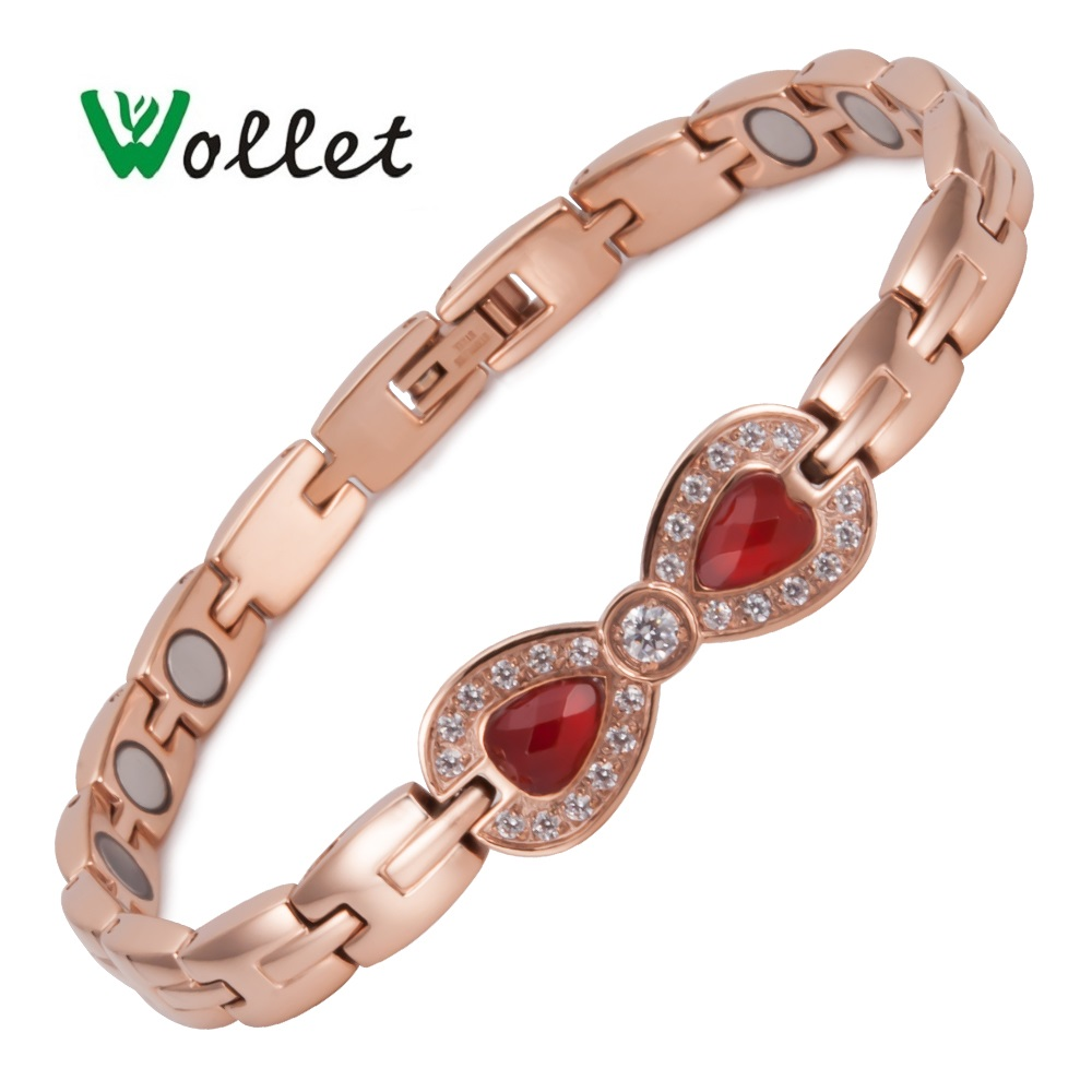 Wollet Jewelry Butterfly Agate Stainless SteeL Bio Magnetic Bracelet for Women Rose Gold Health Healing Energy Magnet Copper