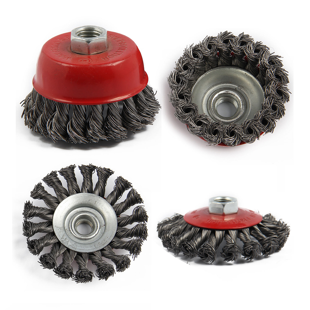 4Pcs M14 Crew Twist Knot Wire Wheel Cup Brush Set For Angle Grinder Steel Wire & Alloy Metals Twisted & Crimped Wire Brushes Kit wlxy wl 301 wire brush set