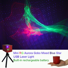 Sharelife Portable RG Hypnotic Aurora Blue Star Laser Projector Light Battery Tripod USB DJ Party Outdoor Stage Lighting Effect new car use plug mini rg laser projector whirlwind 4 patterns light field outdoor garden park party effect stage light show cr01