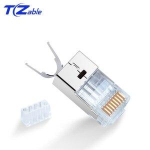 Image 3 - RJ45 konektörü 10Gbps CAT7 Ethernet ağ kablosu adaptörü saf bakır kalkan konnektörler altın kaplama 50U 8p8c Metal modüler fiş