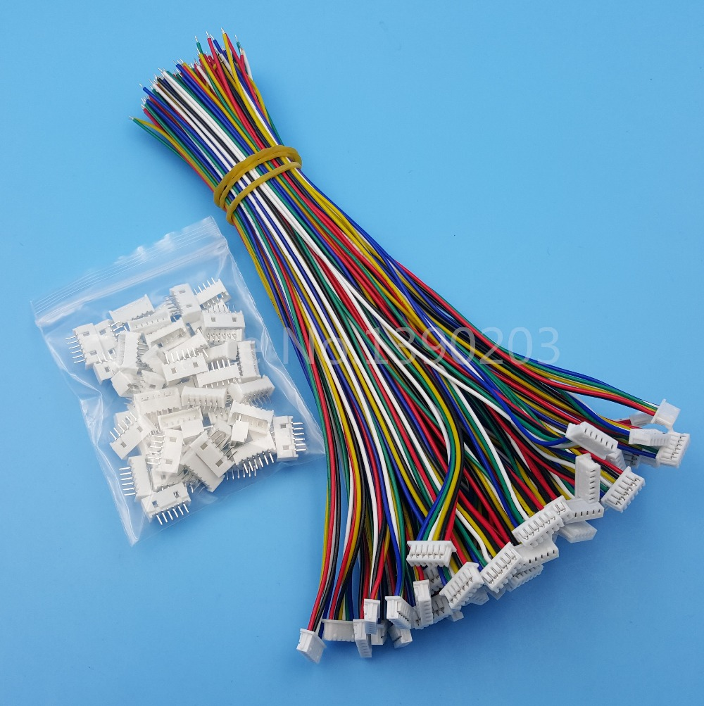 50Sets 6 Pin Single End SH Pitch 1.25mm 15cm 28AWG Micro Wire To Board Connector