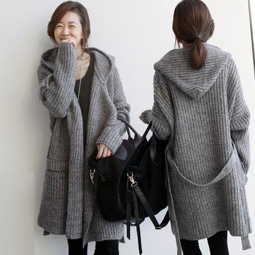 4eb789cfe9 New winter Hooded Sweater Coat size long waist belt coarse wool knit  cardigan thick coat
