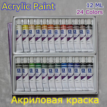 24pcs/set Drawing Paint Acrylic Paint Tube Set Nail Art Painting Drawing Tool For Artist Kids DIY Design