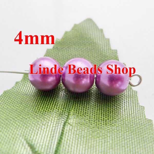 1100pcslot 4mm glass pearl beads christmas ornament loose round beads for jewelry, decoration, pale purple colour GP04016