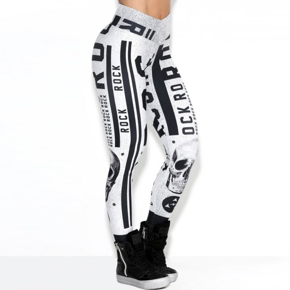 Women Fashion White Sporting High Waist Slim Leggings 2018 New Style Letters Pattern Elastic Force Breathable Polyester Leggings