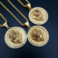 HIP Hop Iced Out Full Rhinestone Lion Pendant Necklaces Bling Gold Color Stainless Steel Men Jewelry