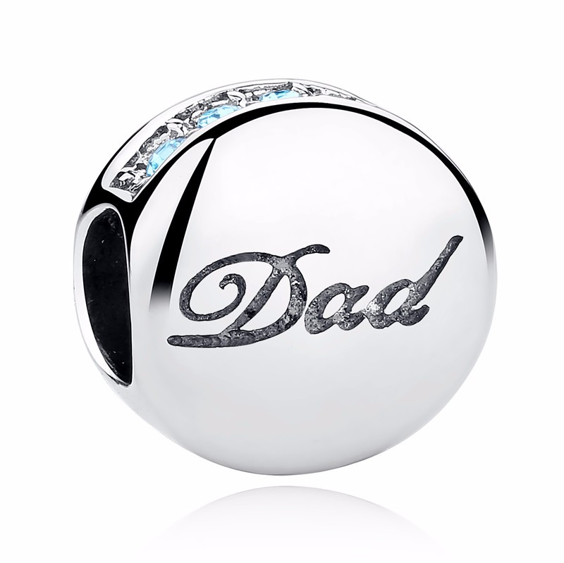 Silver Family Charm Beads - dad