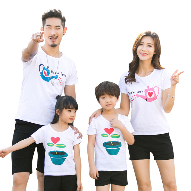 c0c3aa17bd Family set Fashion Love Summer Short-sleeve T-shirt Matching Family  Clothing Outfits For