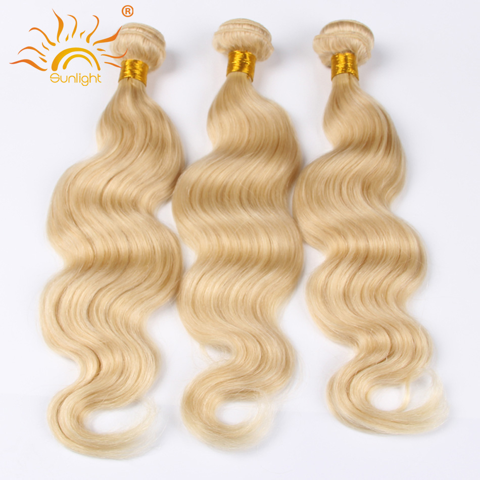 #613 Blonde Brazilian Virgin Hair Body Wave Honey Blonde Brazilian Hair Weave 3 Bundles Platinum Blonde Human Hair Top Quality
