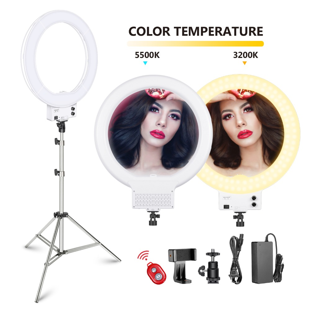 Neewer 18-inch White LED Ring Light with Silver Light Stand Lighting Kit Dimmable 50W 3200-5600K + Soft Filter+Hot Shoe AdapterNeewer 18-inch White LED Ring Light with Silver Light Stand Lighting Kit Dimmable 50W 3200-5600K + Soft Filter+Hot Shoe Adapter