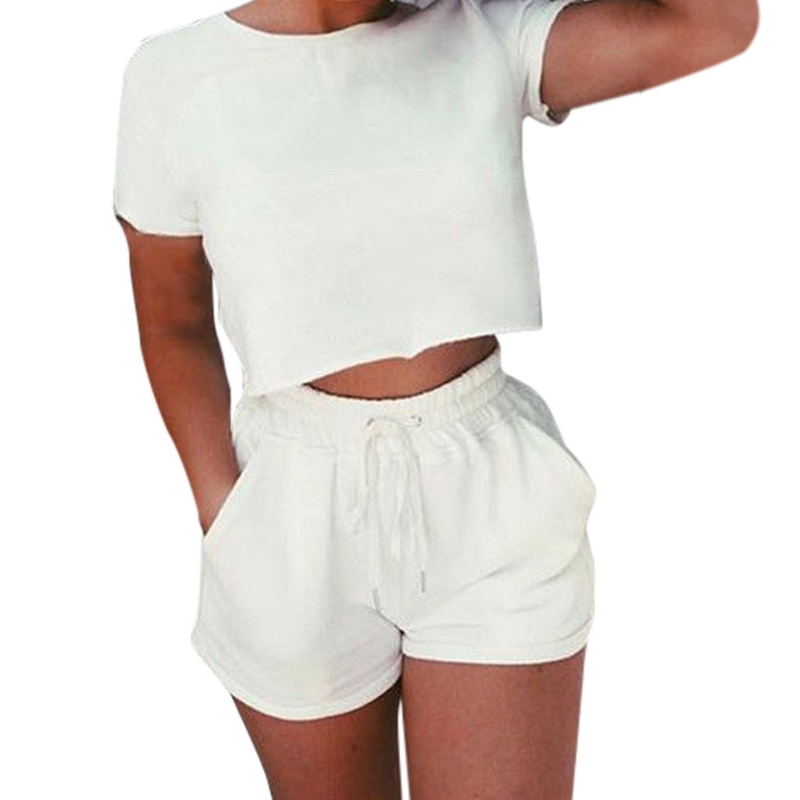 Из 2 предметов спортивные костюмы комплект пупка короткий рукав укороченный топ, футболка и шорты с эластичным поясом
