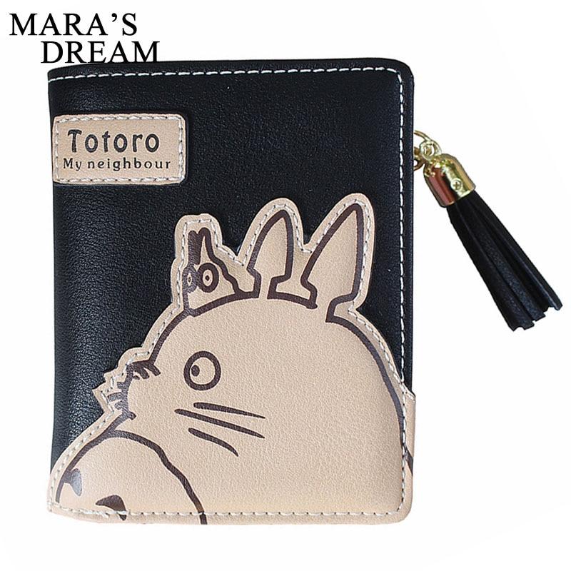 Mara's Dream 2018 Women Wallet Cartoon Animation Small Leather Wallet Cute Totoro Tassels Zipper Clutch Coin Purse Card Holder anime my neighbour totoro cute card bag wallet holder zipper kawaii gray hanging
