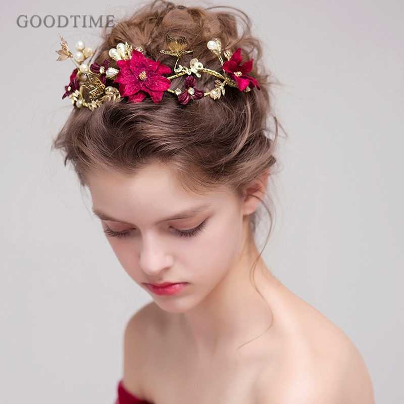 Classic Hair Jewelry Red Flower Gold Butterfly Headbands Pearls Bridal Bridesmaid Headdress Head Bands Tiaras Bridal Jewelry