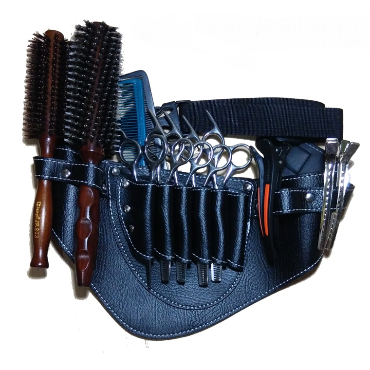 Hairdresser Barber Hair Scissors Bag Shears Bags Tool Hairdressing Holster Pouch Case with Waist Belt Rivet Clips Bag universal waist belt bag pouch outdoor tactical holster military molle hip purse phone case