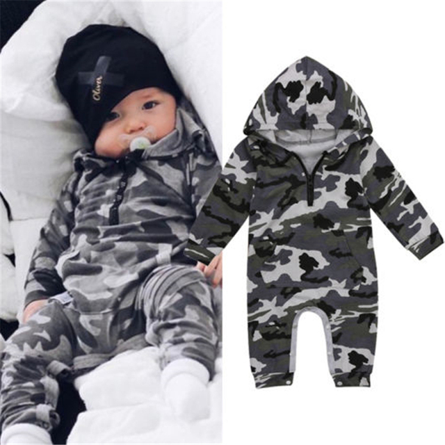 324ea4fe1946 Infant Baby Boy Hooded Camouflage Romper Newborn Baby Camo Long Sleeve  Romper 2017 New Warm Autumn Jumpsuit Outfit Boys Clothing