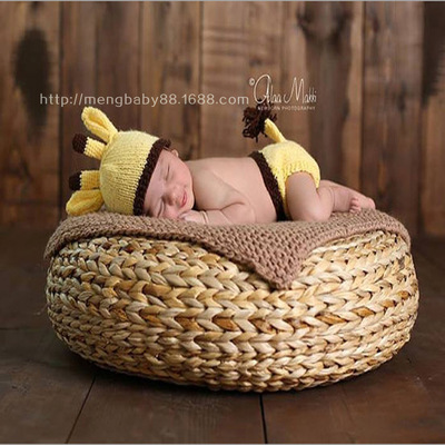 New creative handmade round basket newborn baby infant photography prop basket posey posing pillow studio props box in pillow from mother kids on