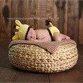 Novo Criativo Handmade rodada Cesta Cesta Bebê Recém-nascido Infantil Fotografia Prop Posey posando Travesseiro Caixa de Estúdio adereços