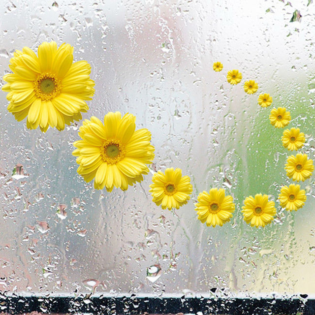 Yellow Daisy wall decals Flowers 3d vinyl stickers home ...
