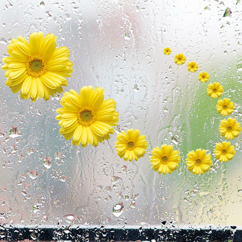 Yellow Daisy Wall Decals Flowers 3d Vinyl Stickers Home Decorations Living  Room Bathroom Bedroom Glass Waterproof Wallpaper