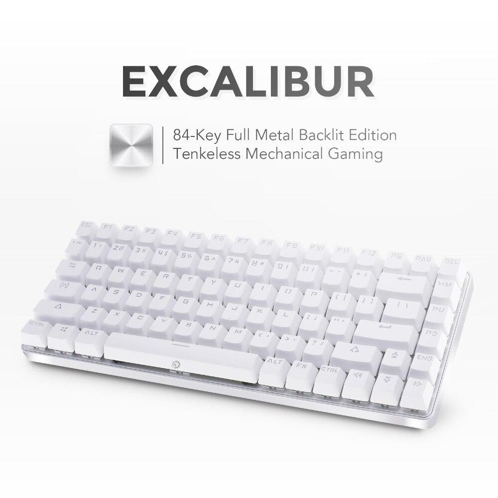 цена на DREVO Excalibur Tenkeyless 84Key Full Metal Mechanical Gaming Keyboard White Backlit Wired USB Connection