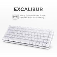 Drevo Excalibur компактная 84Key металлический Механическая игровая клавиатура с белой подсветкой Проводной USB соединение