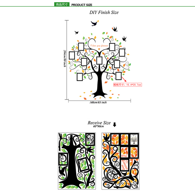 Large 240cm/ 80inch Family Tree Photo Frame Removable Wall Sticker Love Tree Bird Butterfly 5