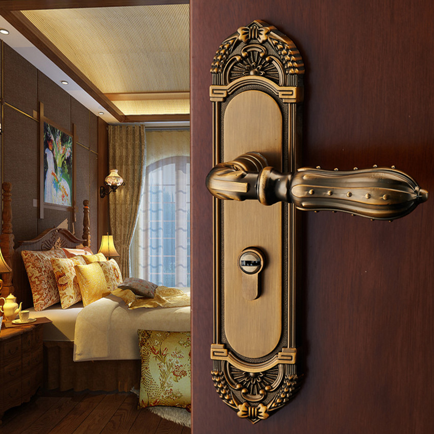 American interior bedroom handle door lock European wooden mute door lock solid retro 2017 new arrival special offer padlock cadeado bronze interior door split locks bedroom mute wooden ceramic handle lock
