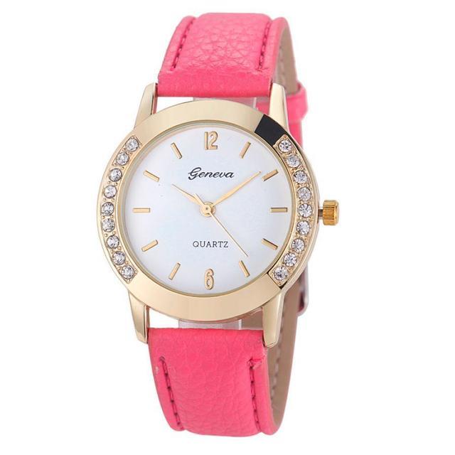 Timezone #401 Duobla Brand Fashion Lady Diamond Point Leather Strap Quartz Watch