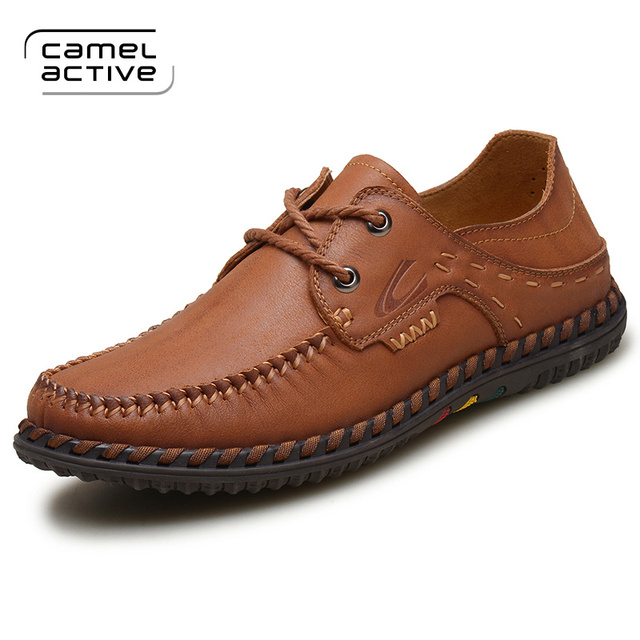 Camel Active New Arrival Solid men shoes genuine leather flat Casual shoes  young Men's Shoes lace