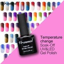 Vrenmol 1 шт замочить от 29 цветов Температура Цвет термальный изменение настроения УФ гель Verniz лак изменен лак для ногтей