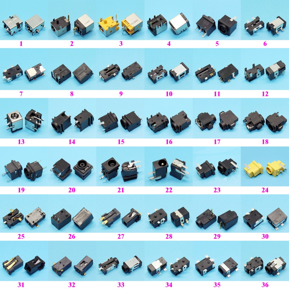 Pacote de amostra: 72 modelos, 144 pces tablet pc mid portátil dc power jack conector para samsung/asus/acer/hp/toshiba/dell/sony/lenovo