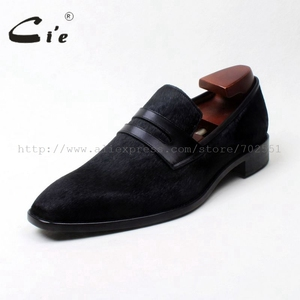 Image 2 - cie square toe penny shoe black horse hair bespoke leather man shoe handmade calf leather breathable genuine slip on loafer126