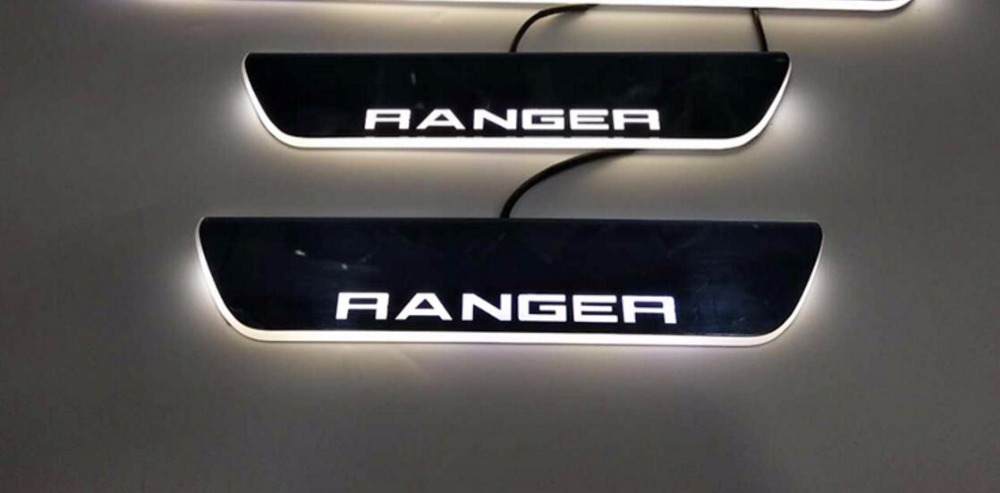 Qirun acrylic led moving door scuff welcome light pathway lamp door sill plate linings for Ford Ranger 2014 2015 2016 in Car Light Assembly from Automobiles Motorcycles