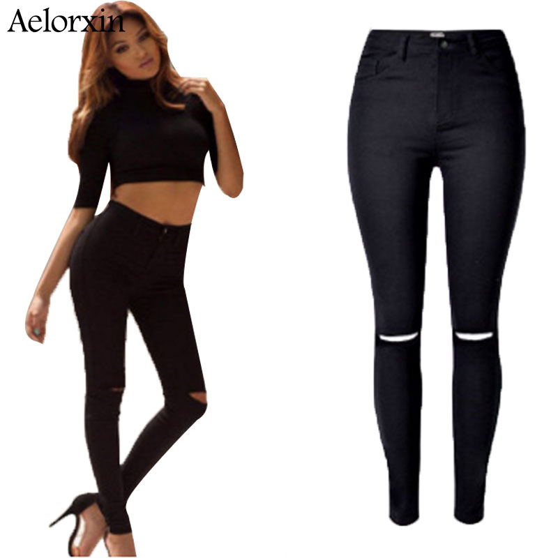 2017 High Quality Women High Waist Stretch Ripped Knees Jeans Skinny Denim Jean Pants Woman Black