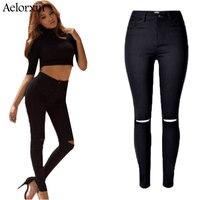 2016 Wysokiej Jakości Kobiety Wysoka Talia Stretch Ripped Skinny Jeans Denim Kolan Spodnie Jean Kobieta Czarny