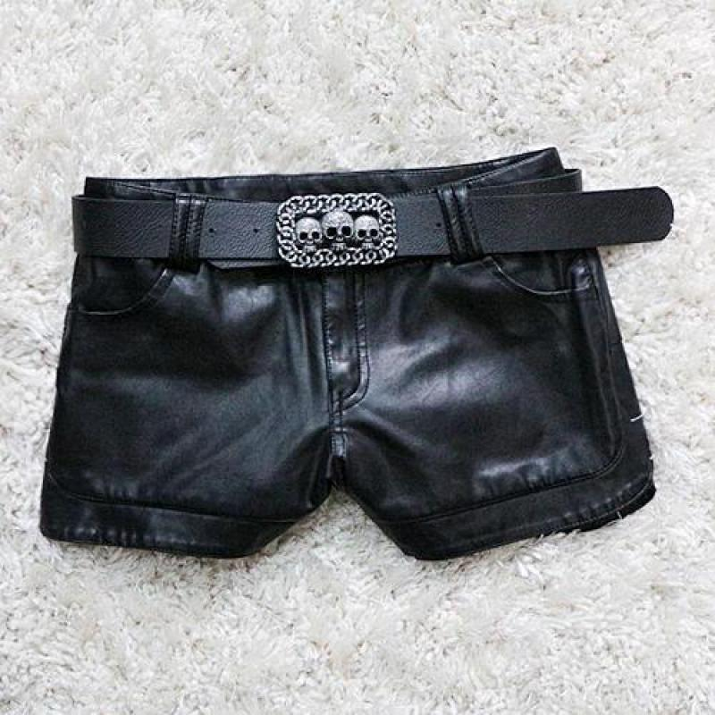 Hot  New Autumn And Winter Europe And The United States Leather Shorts Women Thin Pu Leather Shorts Slim Sexy Leather.
