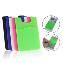 1PCS Portable Phone Card Holder Wallet Bus Card Business Exhibition Card Holder Case Pocket on Adhesive Sticker Gift(China)