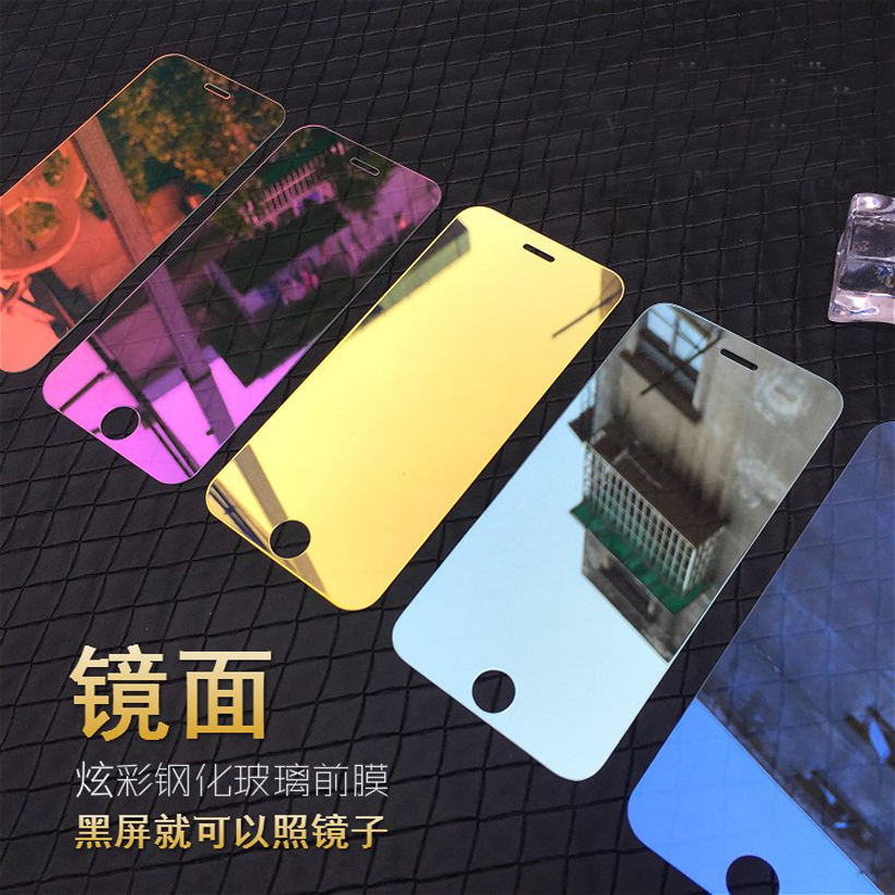 For iPhone 7 6 6S 5 5S 5C SE 2020 Colorful Mirror Screen Protector Film for iPhone 6 6S 11Pro XS MAX XR 9H Tempered Glass Case(China)