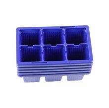 10 unids macetas de plástico 6 agujeros planta placa brote bandeja de plántulas jardín herramientas bandeja de la caja de Color azul venta al por mayor