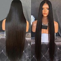 Marquesha Heat Resistant Fiber Hair Synthetic Wig Mermaid Black Color Silk Straight Synthetic Lace Front Wigs for Black Women