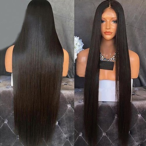 Peluca sintética de pelo de fibra resistente al calor de Marquesha sirena Color negro seda recta de encaje sintético pelucas delanteras para mujeres negras