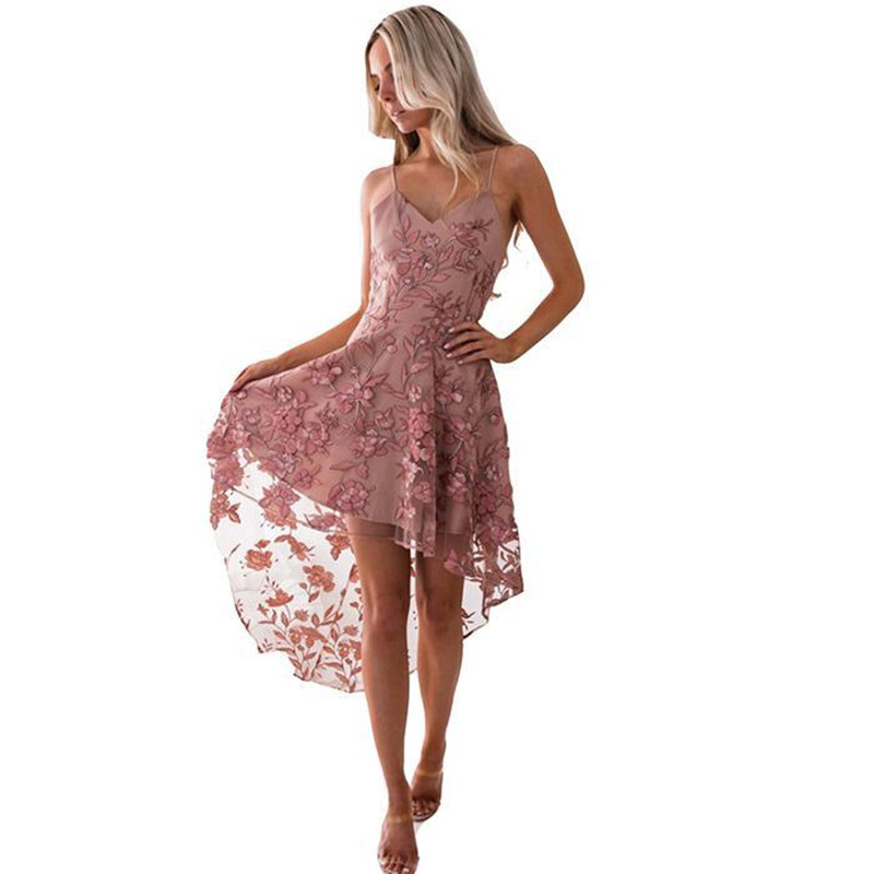 AL'OFA Summer   Cocktail     Dresses   Women Elegant Embroidery Floral Mesh Irregular Hem Lace   Dress   Sexy Spaghetti Strap Party Gowns