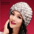 Frete grátis nova moda Real Genuine Mink Fur Cap Hat Nature Knit Mink Fur Hat moda feminina chapelaria TFP322