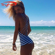 Black&White Striped Swimsuit Cross Halter-Style One Pieces Swimsuit Push Up Padded Spaghetti Strap Swimwear Beachwear 121-A8796