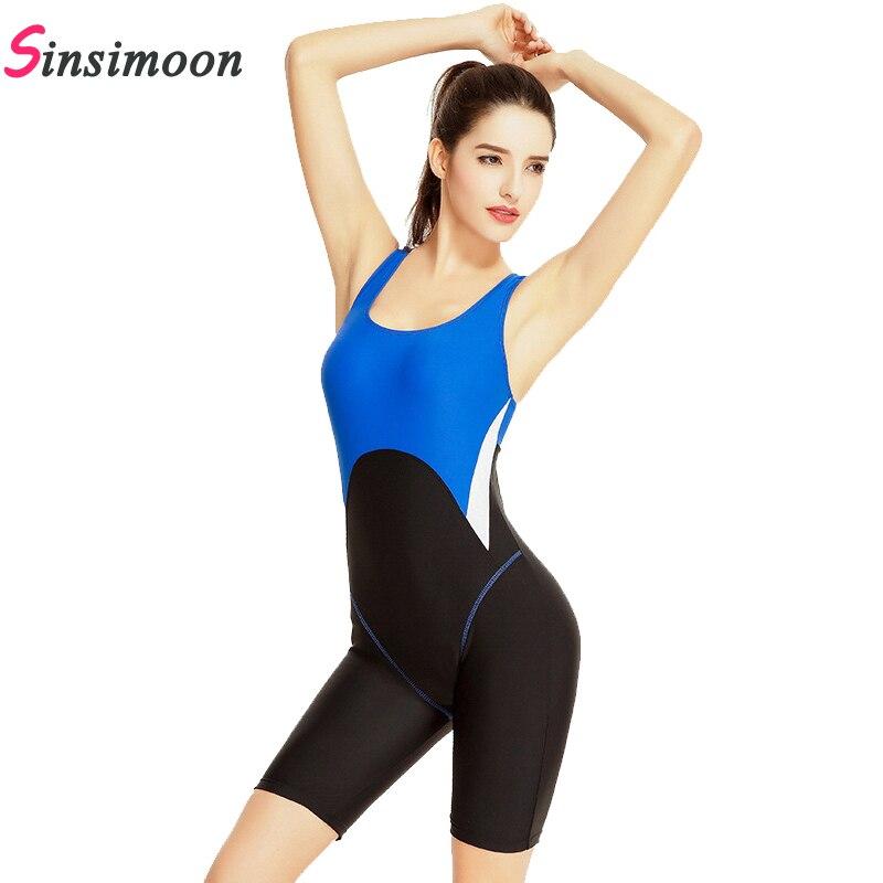 Nova Fêmea Chegada Patchwork Swimsuit Sports Competição Bodysuit Beachwear One piece fato de banho Secagem rápida Corrida Swimwear