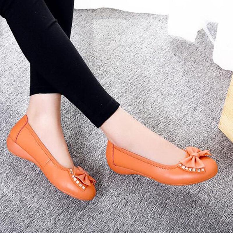 red Ii 2019 Mujeres blanco Cuero Pisos Shoescasual Calzado Slip Tacón Mocasines De 90z On Mujer Zapatos Black Bajo naranja azul Suave Las Conducción amarillo 41war4q7